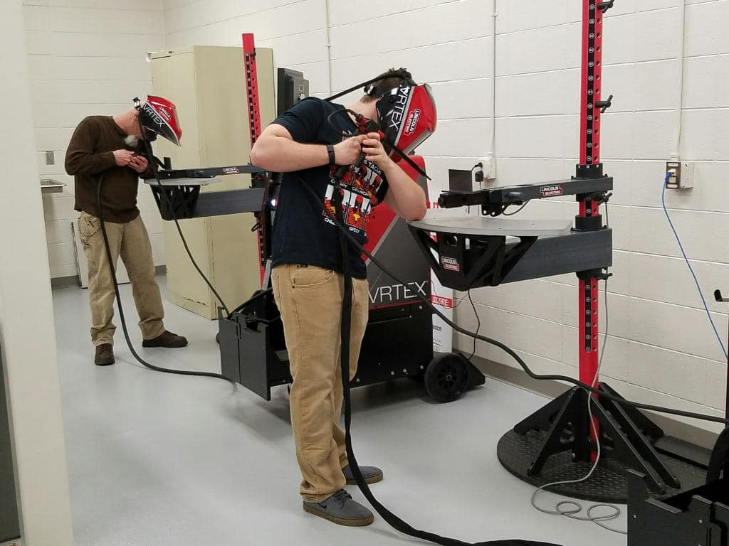 Students gaining muscle memory on the virtual welders the first week of class