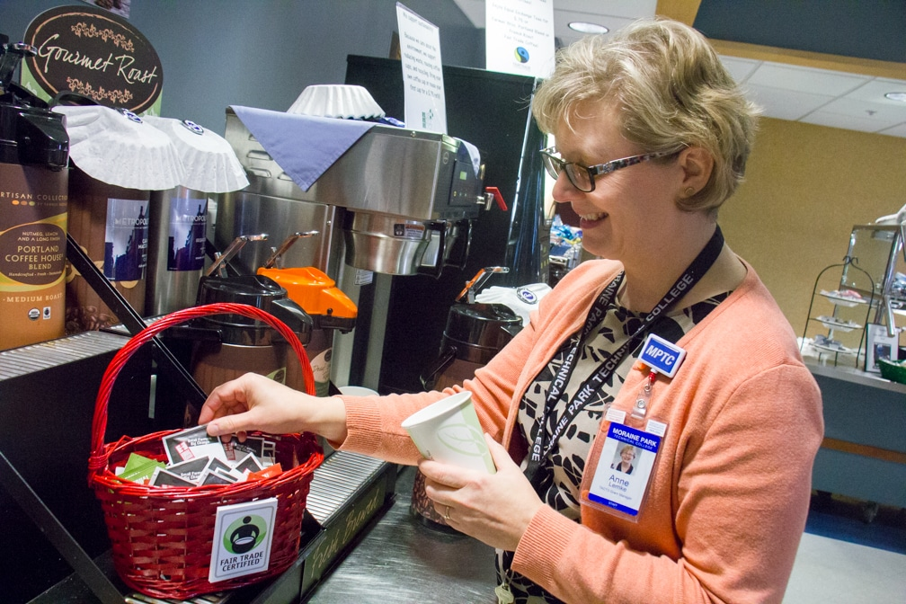 Anne Lemke shown with Fair Trade tea