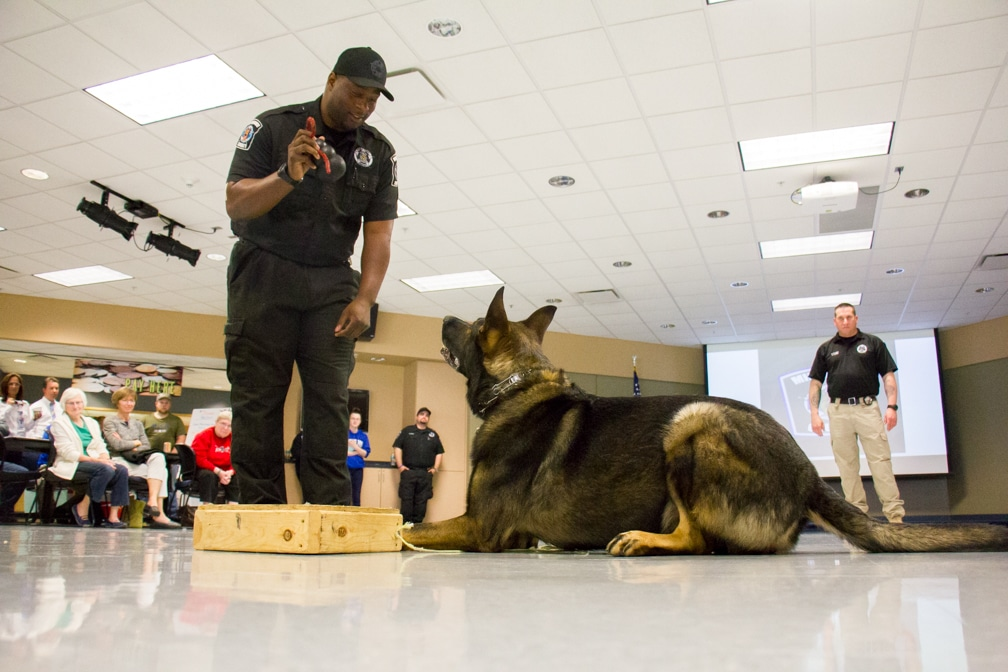Police officer and K-9 dog demo