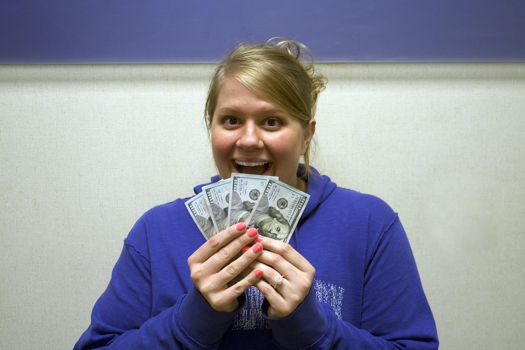 Heather with money