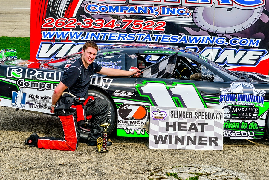 Alex Prunty race car driver wins heat at Slinger Speedway