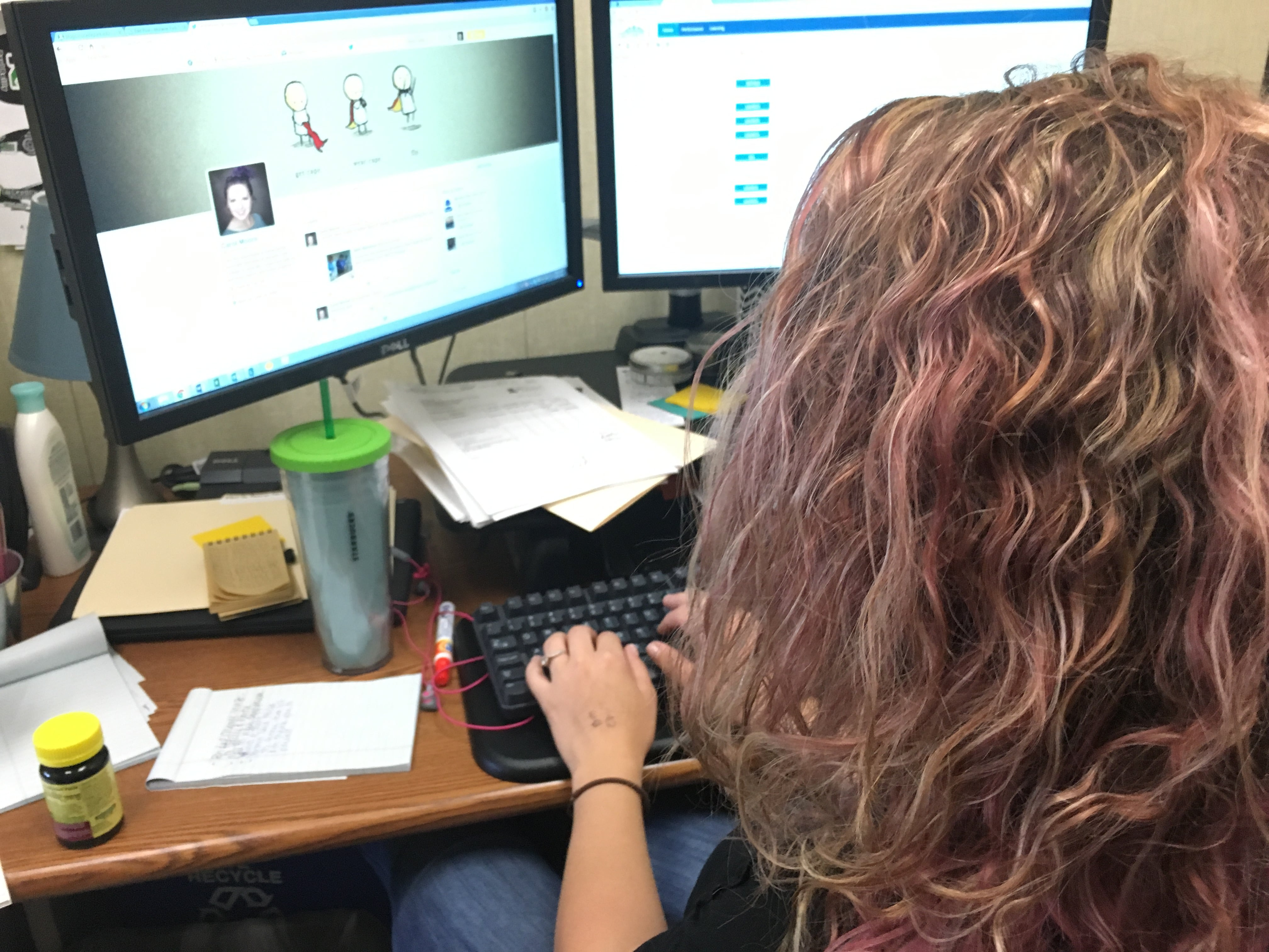 Carol Moore working on computer at Moraine Park.