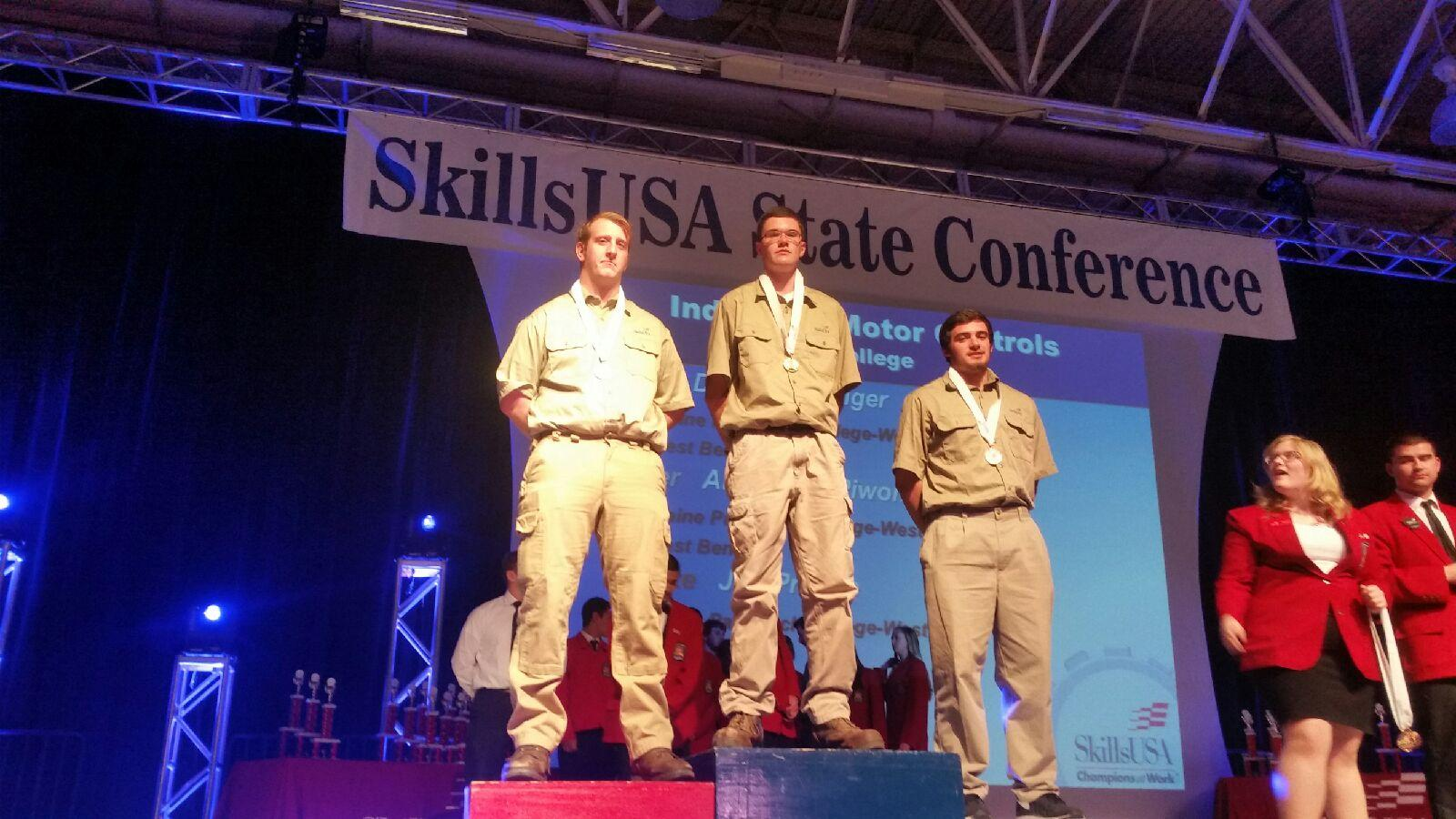 Three male winners at Skills USA State Conference