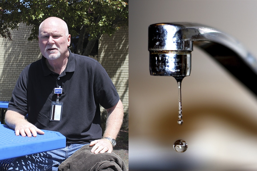 Moraine Park Wastewater instructor sitting at blue picnic table and dripping faucet