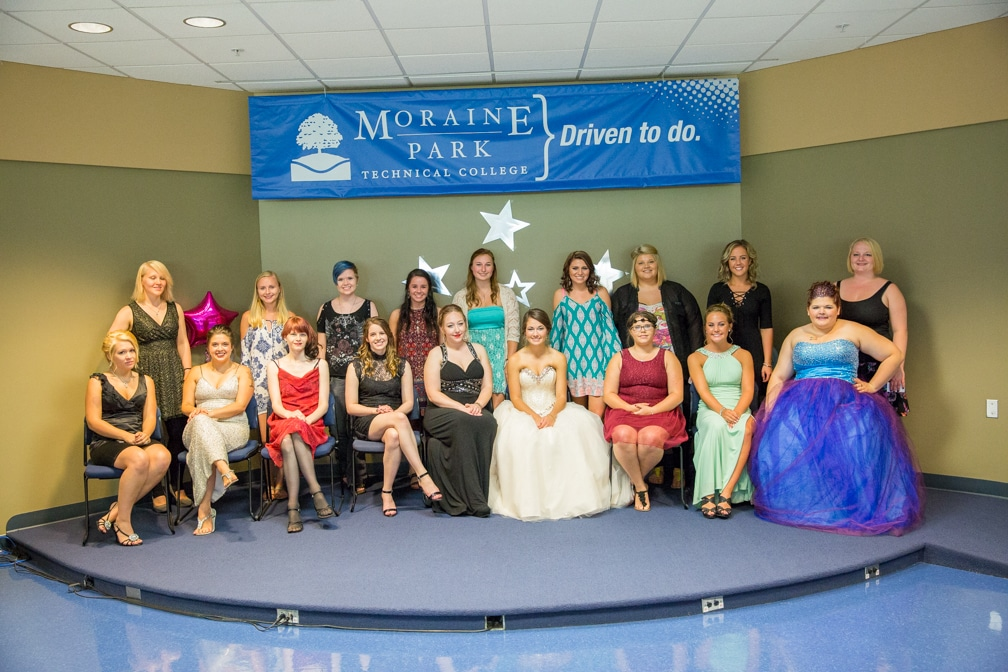 All the females posing together for the Moraine Park Technical College Cosmetology Fashion Show