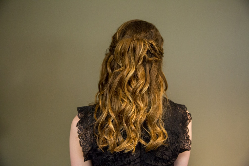 Female showing the back of her hairstyle for the Moraine Park Technical College Cosmetology Fashion Show
