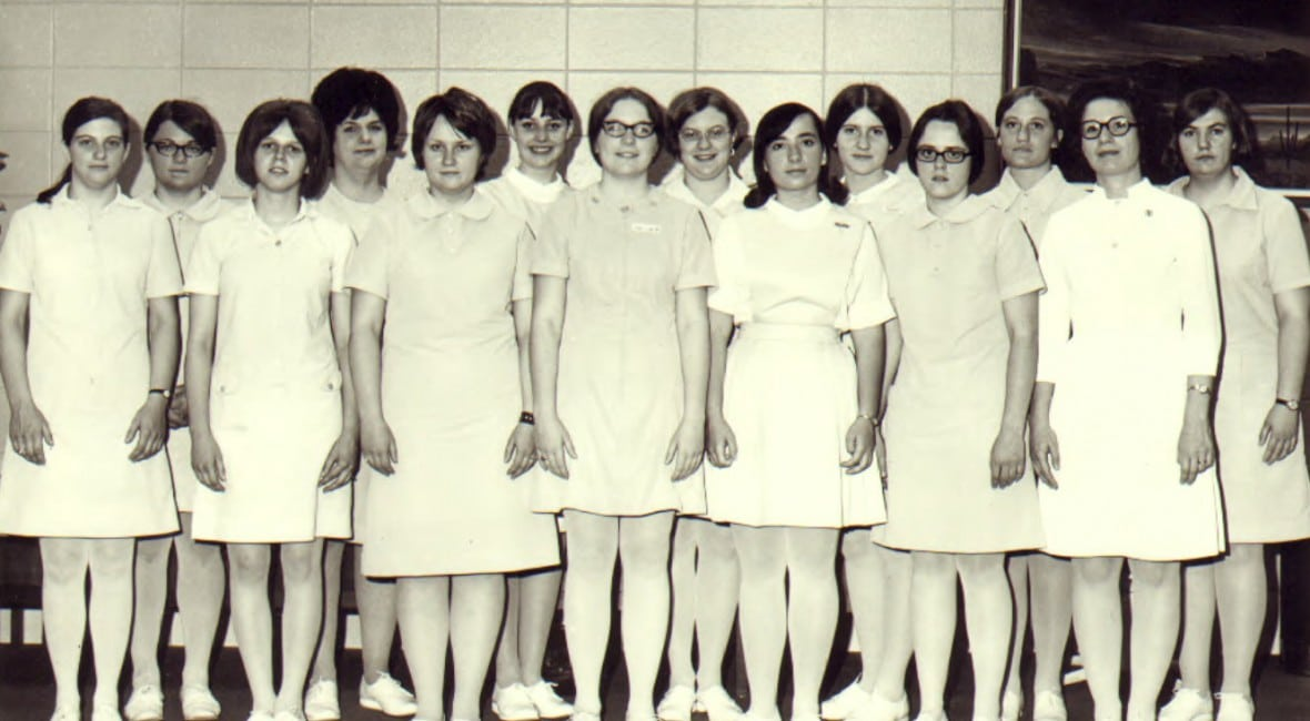Vintage black and white photo of nursing students