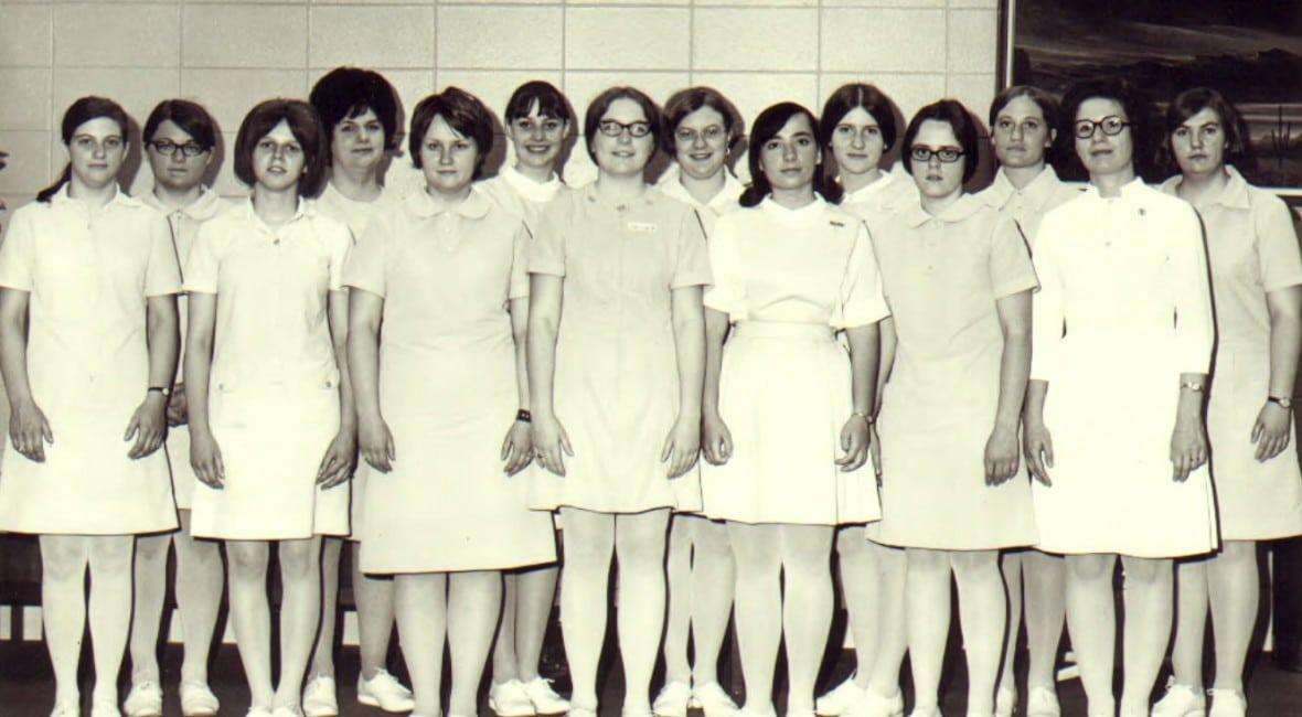 Vintage black and white photo of nursing students