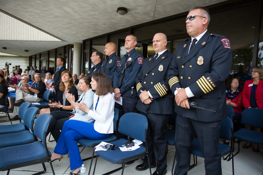 Officers lined in a row at 9-11 Memorial Rededication at Moraine Park