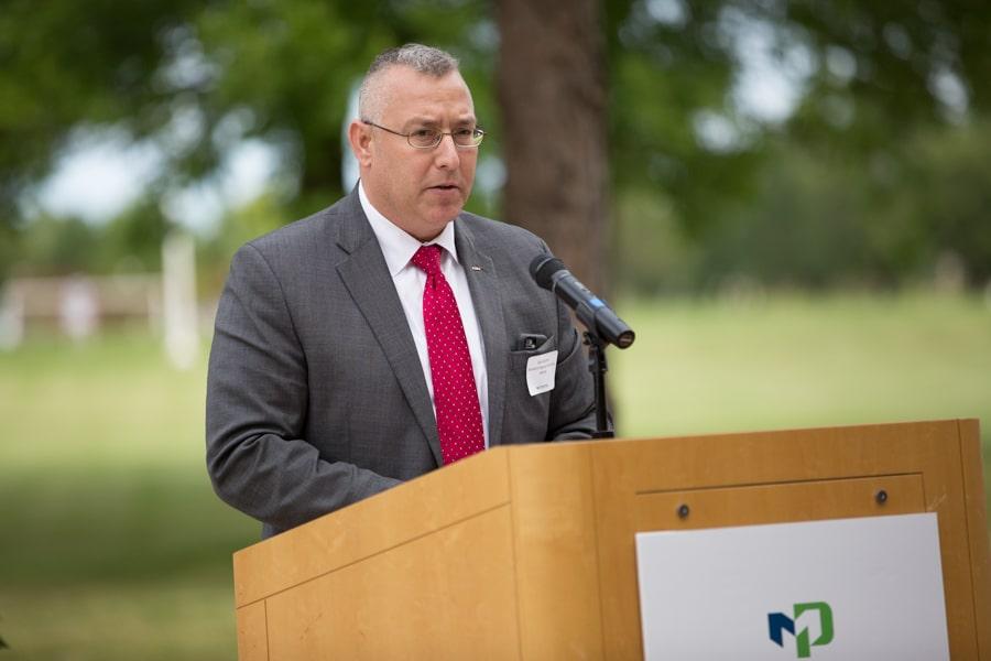 Speaker at 9-11 Memorial Rededication at Moraine Park