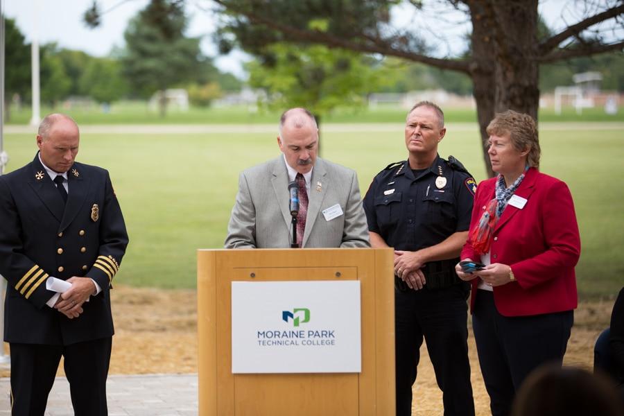 Moraine Park Veterans Specialist Steve Pepper speaking at 9-11 Memorial Rededication