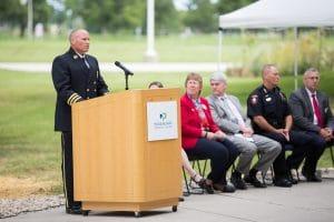 Officer speaking at 9-11 memorial rededication