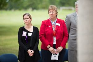 President Bonnie Baerwald and female guest at 9-11 Memorial Rededication at Moraine Park