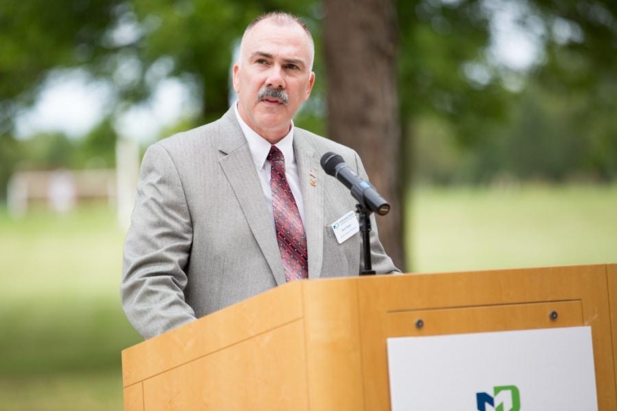 Steve Pepper speaking at 9-11 Memorial Rededication at Moraine Park