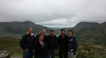 group of students near Ireland mountains