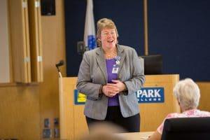 President Bonnie Baerwald speaking to summer interface cohort ceremony