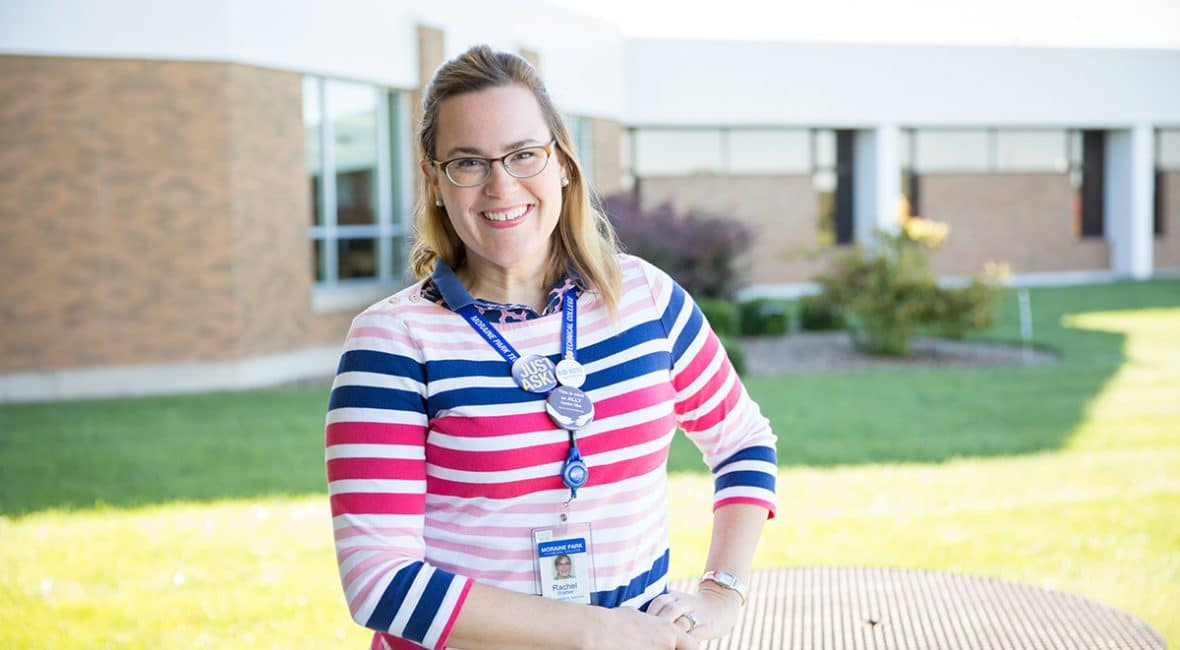 Moraine Park Accommodation Specialist Rachel Weber standing outside of West Bend campus