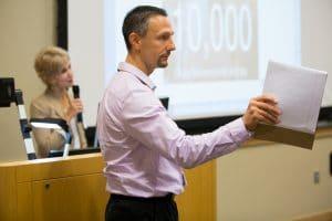 man gives health careers presentation at moraine park