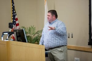man gives presentation on health careers