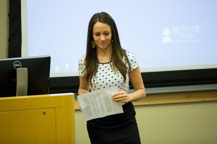 woman gives presentation on health careers