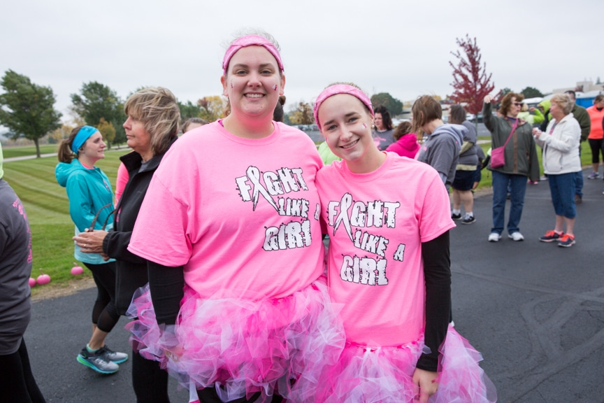 two women dressed in pink at moraine park walk