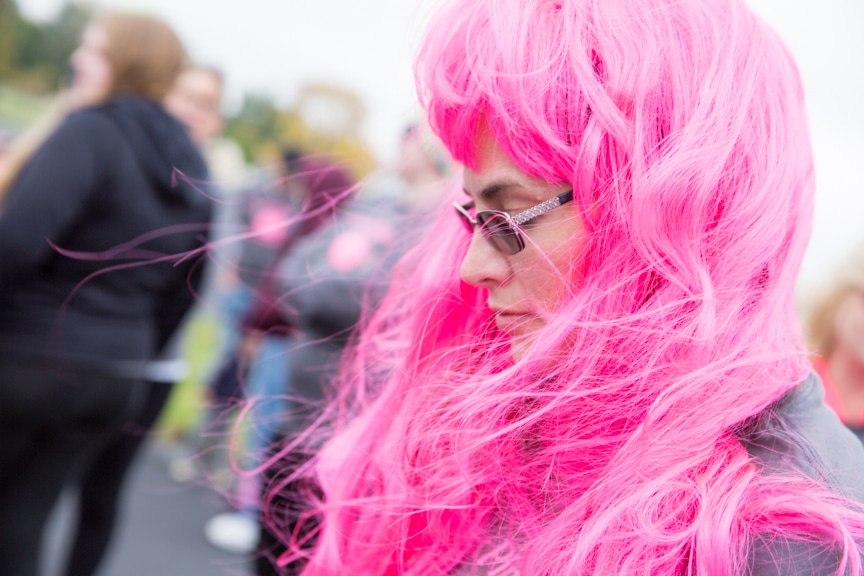 woman with pink wig at moraine park