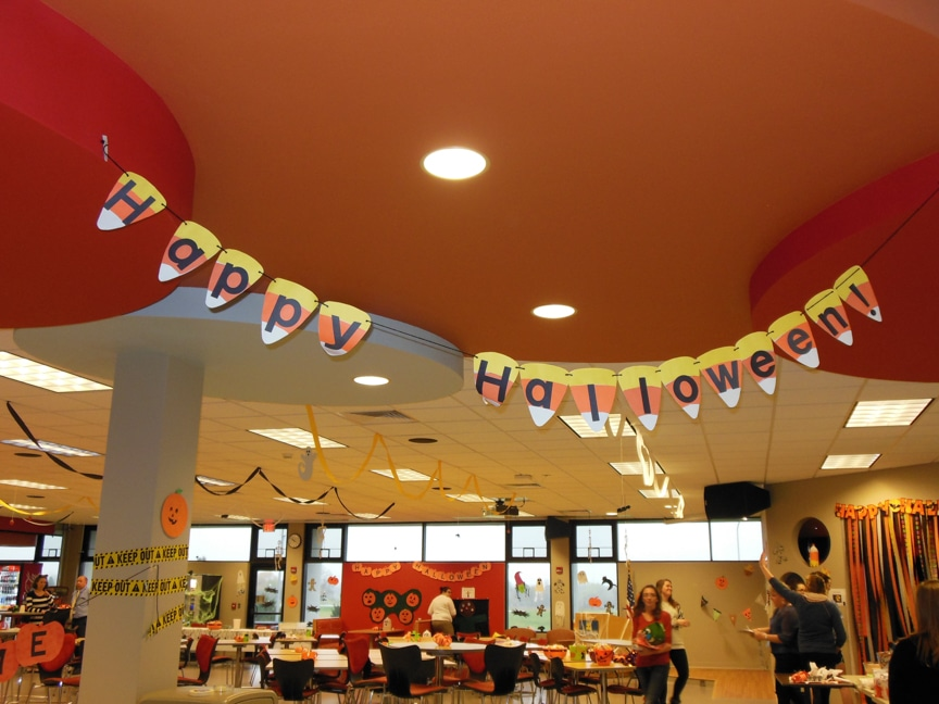 Halloween decorations at Moraine Park West Bend campus