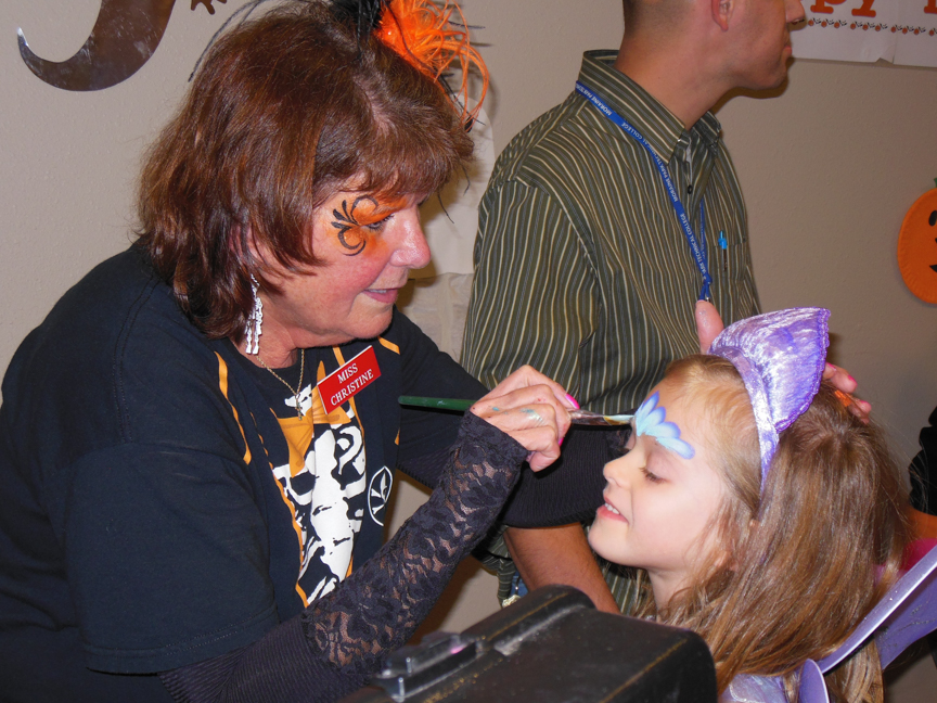 Halloween face painting at Moraine Park West Bend campus
