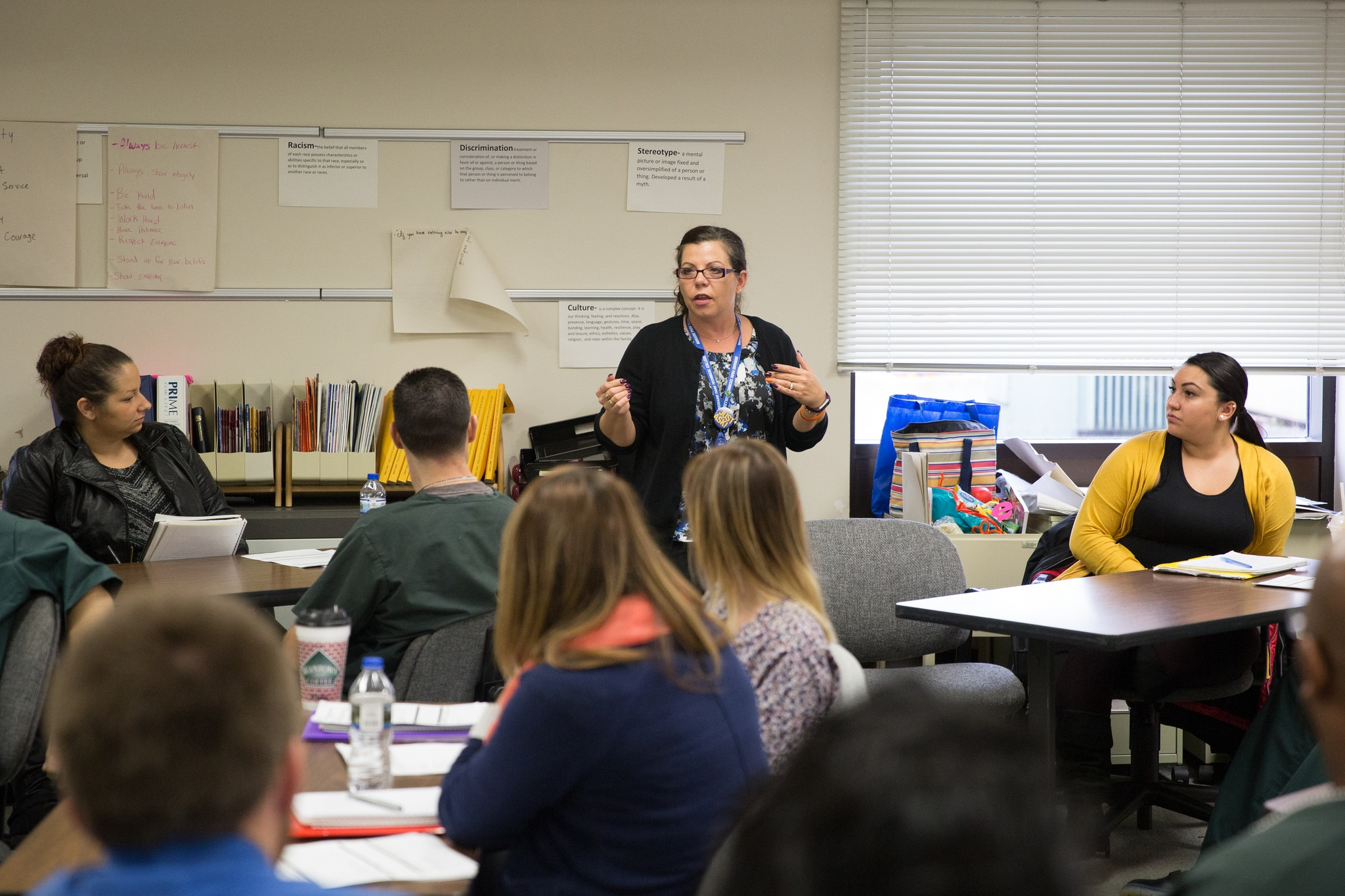 Criminal Justice Instructor, Joan Barfield teaching in class to students