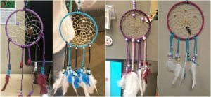 Examples of dreamcatchers made by staff and students. (Left to right Lilly Bavers, Rainy Lett, Laurice Snyder, and Rachel Bestor)