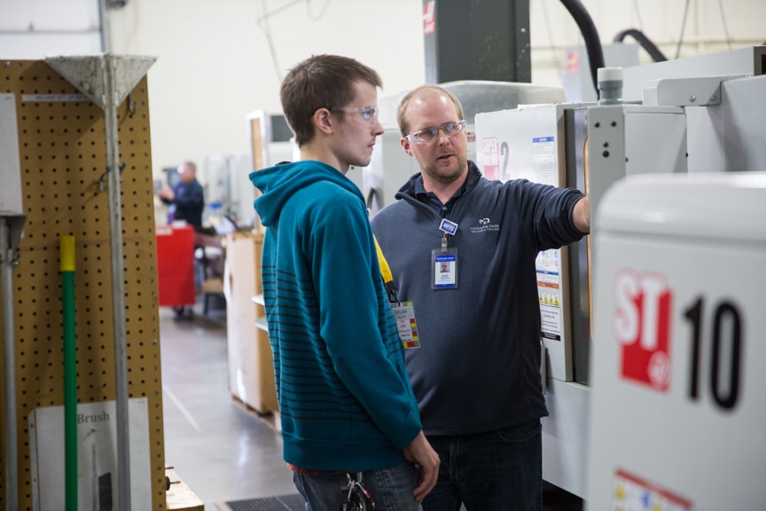 Student learning about CNC at November 2016 Test Drive event