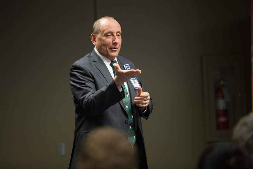Jim Eden speaking at Boot Camp graduation