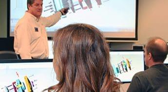 Moraine Park instructor showing students 3D image