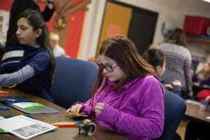 Middle schoolers at Moraine Park creating projects