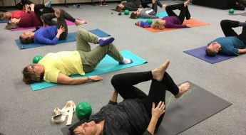 Yoga session with participants