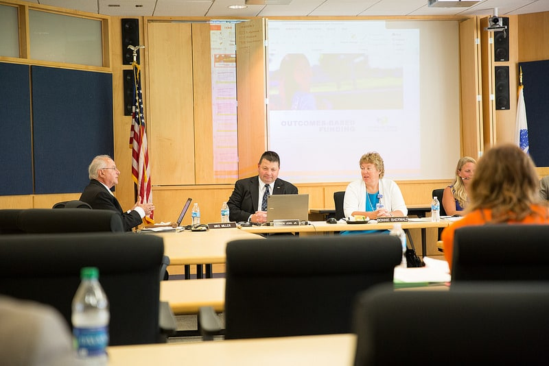moraine park district board sitting at tables during meeting