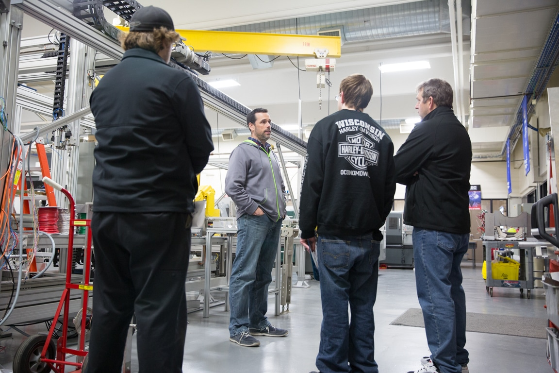 guests touring manufacturing area of moraine park