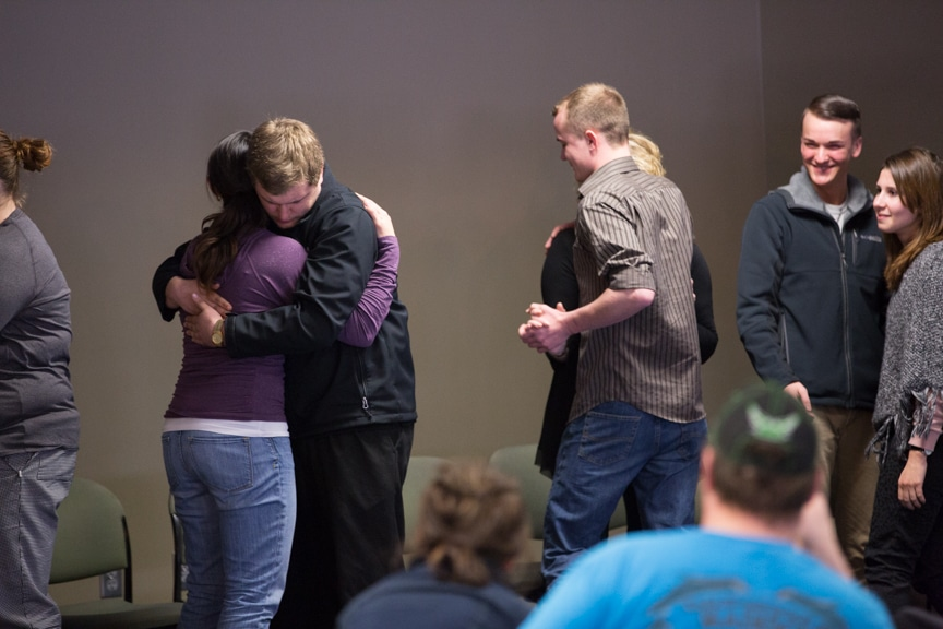 students slow dance during mptc performance by hypnotist chris jones
