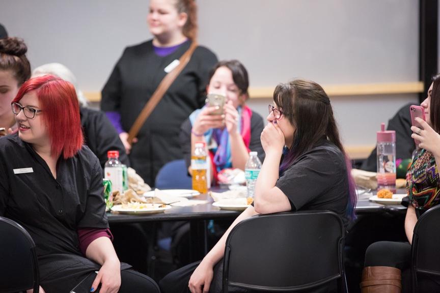 students smile during moraine park hypnotist show
