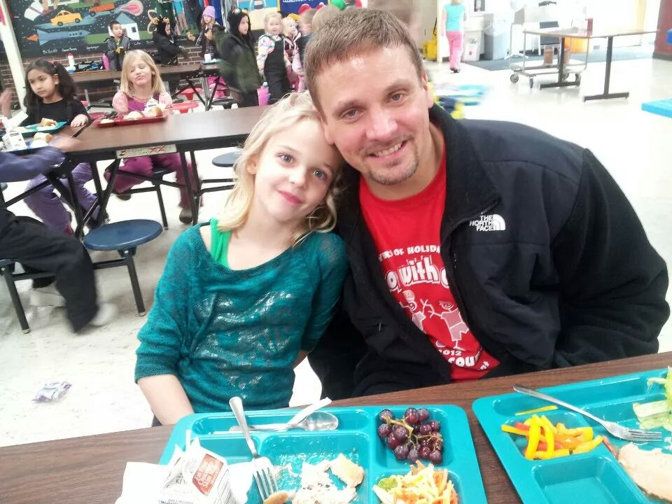 will with daughter trinity at school lunch table