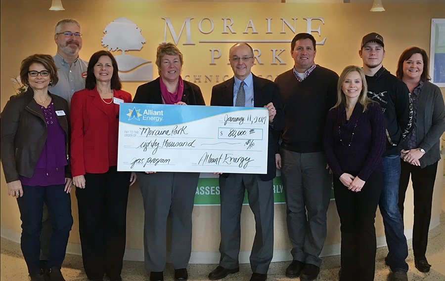 Alliant Energy donating $80,000 check to Moraine Park for Gas Utility project