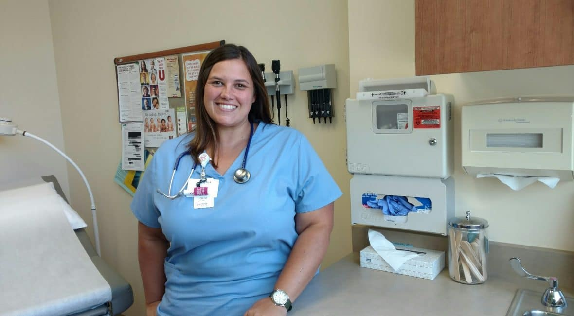 Female Medical Assistant student in Moraine Park Nursing lab