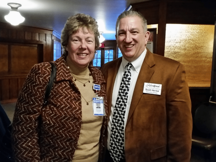 Pictured- MPTC President, Bonnie Baerwald with Hartford Area Chamber of Commerce, Executive Director Scott Henke. Since 2002, Moraine Park has partnered with the Hartford Chamber to provide the Future Hartford Leadership Program training to the community. To date more than 80 candidates have graduated from the program.