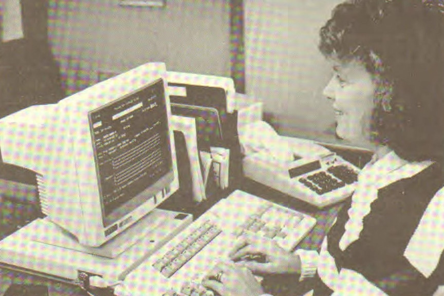 Throwback picture of female student working on computer at Moraine Park
