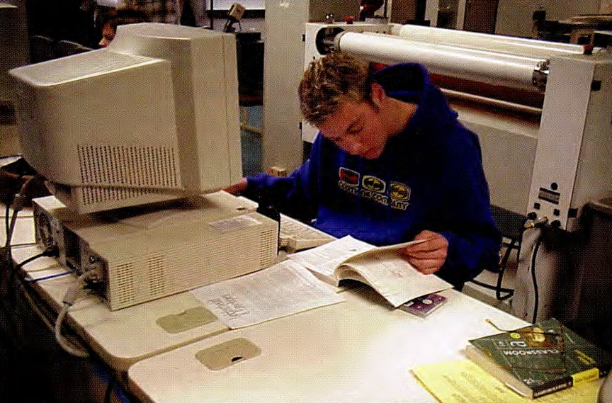 Throwback photo of Moraine Park male stuent working on computer