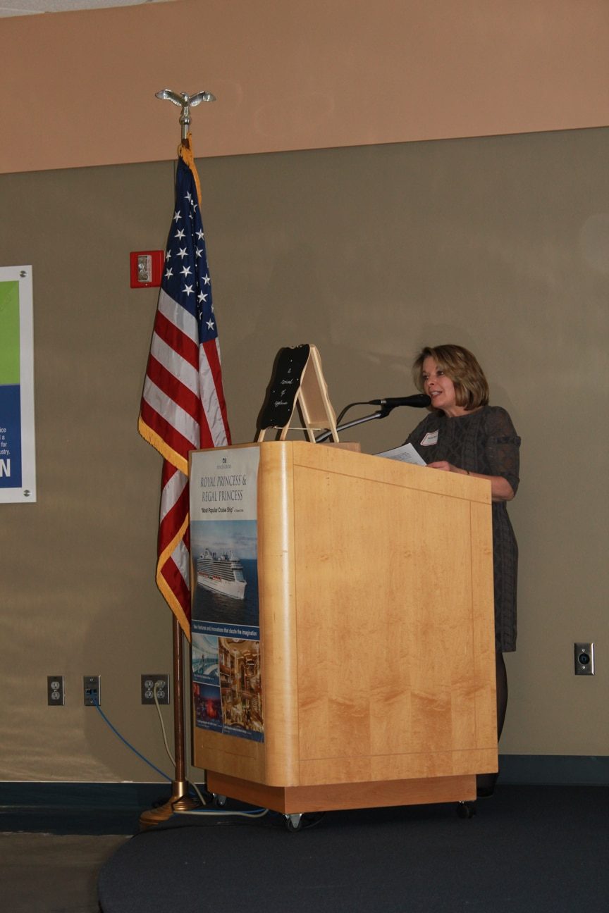 Moraine Park Disability Resources Manager Bonnie Bauer speaking at Career & Tech Ed event