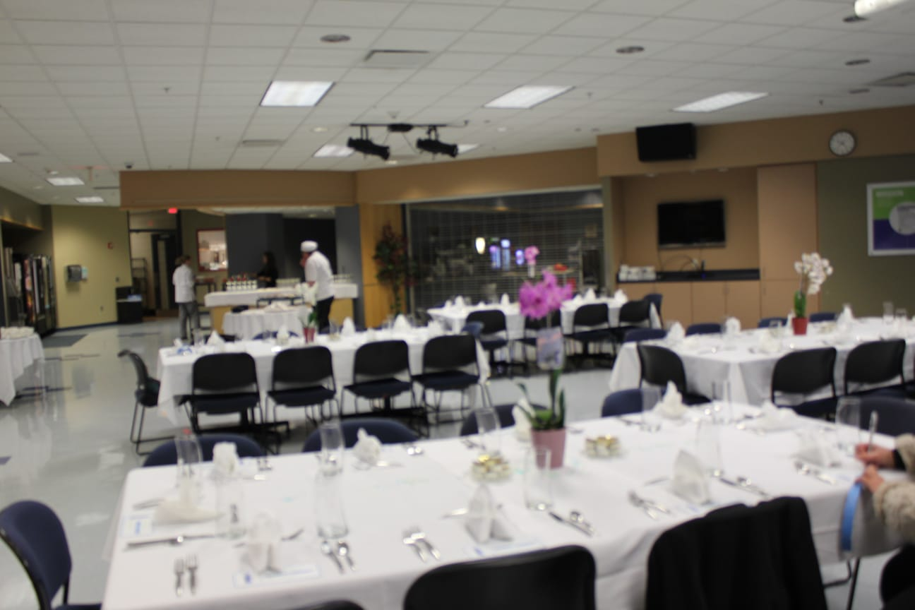table dining set-up in Moraine Park cafeteria for MPACTE event
