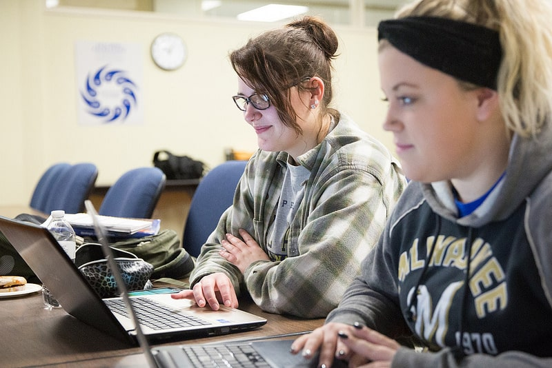 two female students work on computersat Moraine Park