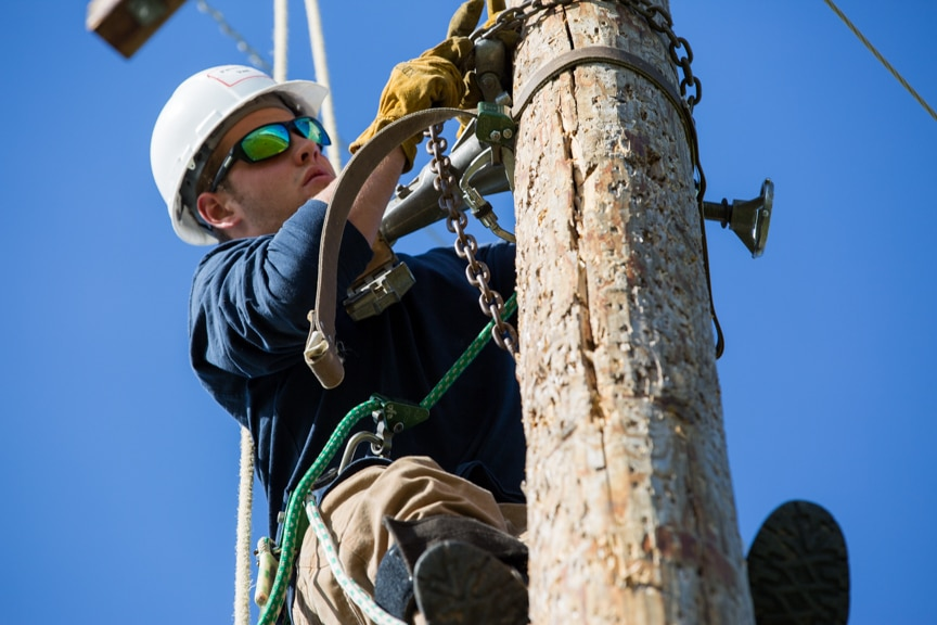 electrical power distribution holds chain on power pole at Moraine Park