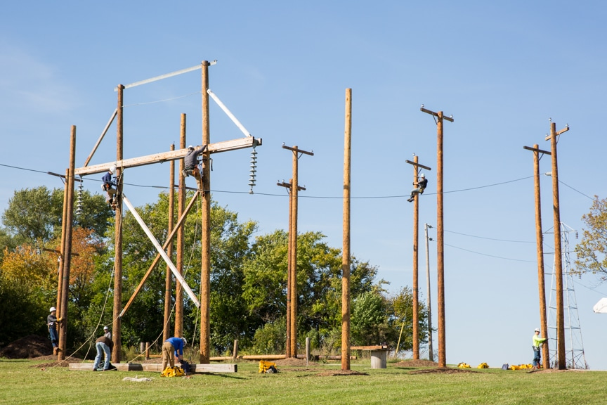 numerous power poles stand at Beaver Dam campus